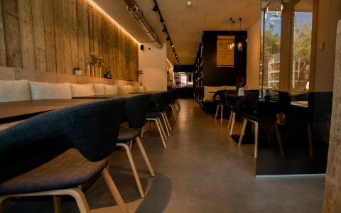 Translucent concrete-look in a restaurant in Koksijde, Belgium